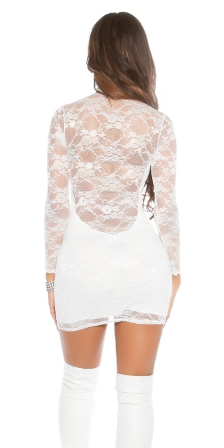 Sexy Lace-Minidress with turtleneck White