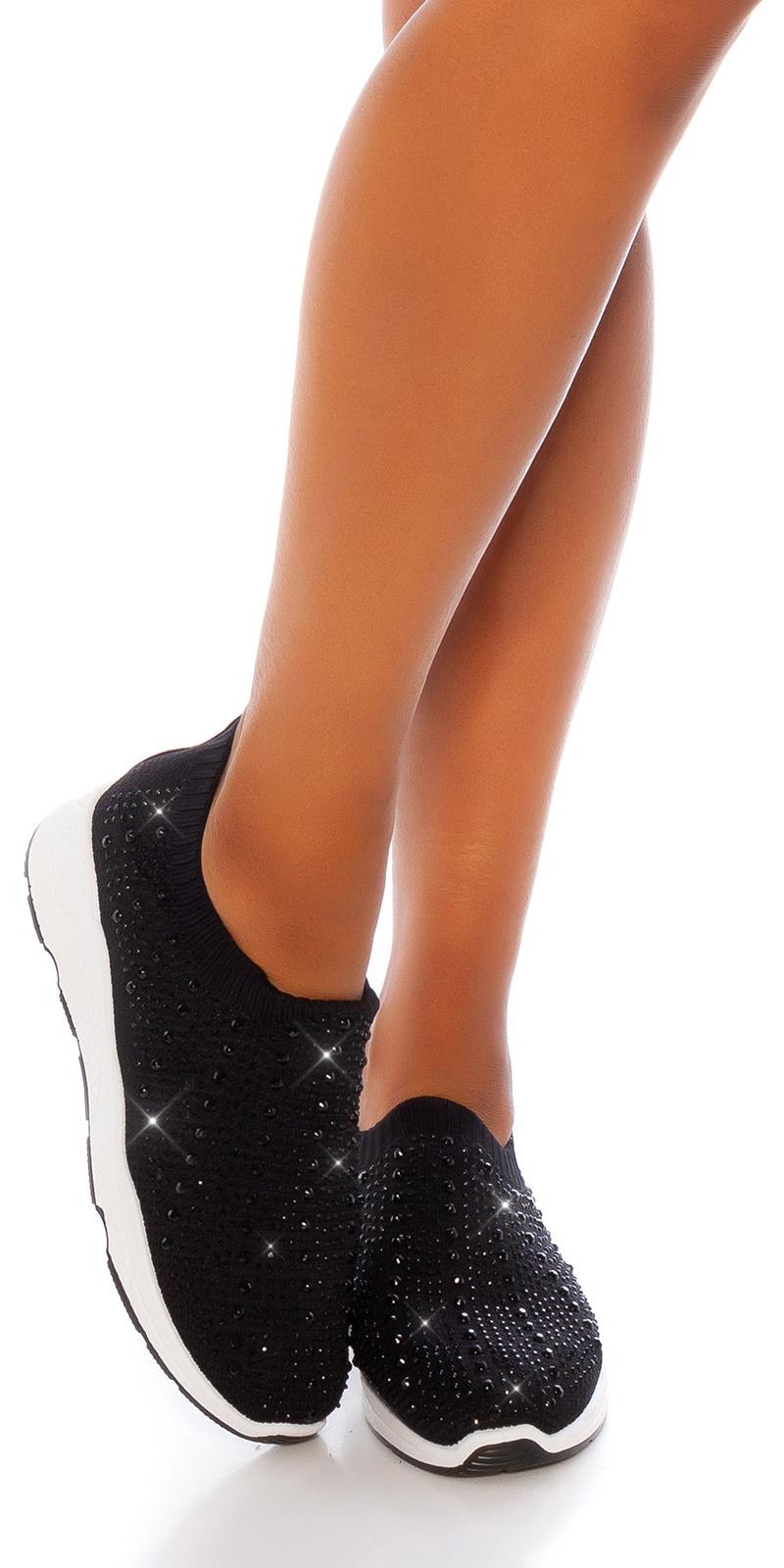 Trendy slip-on sneakers met glinsterende stenen zwart
