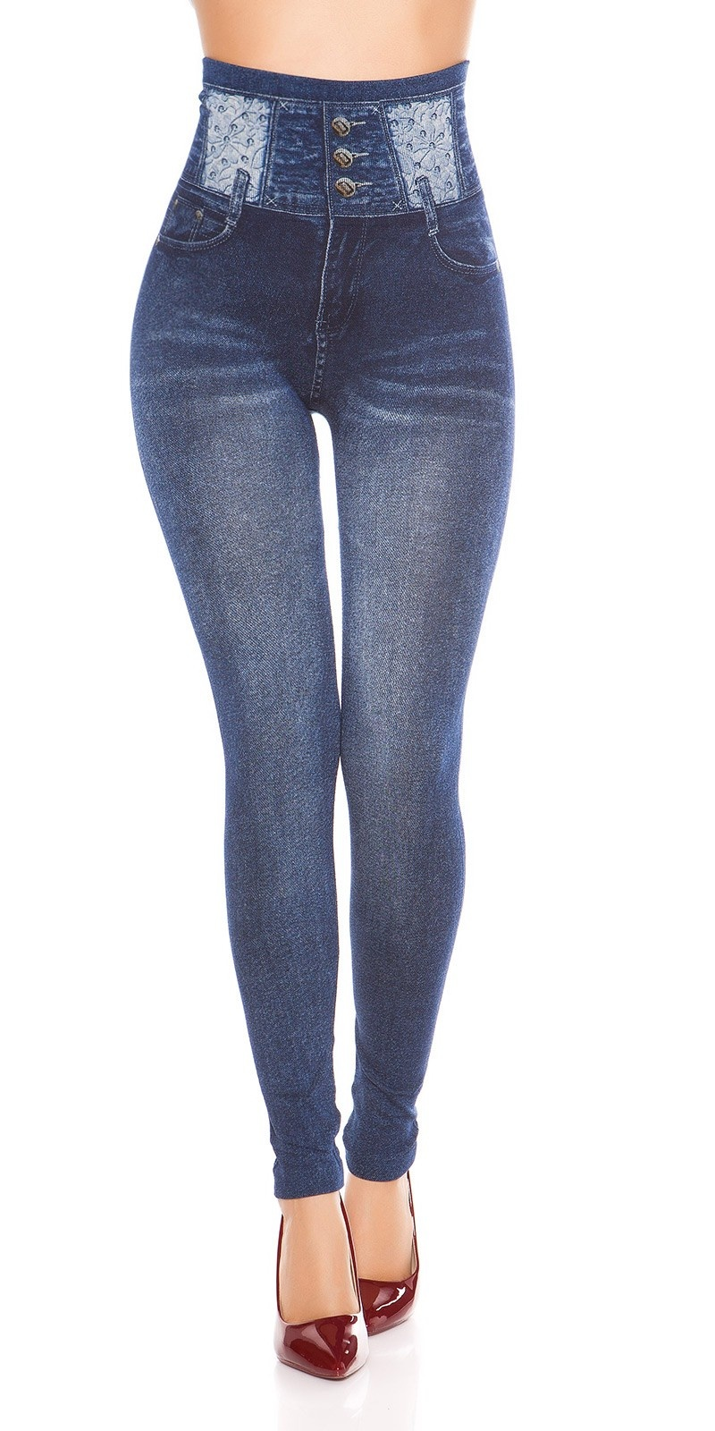 Sexy hoge taille jeanslook leggings jeansblauw