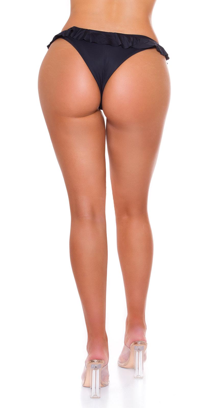Sexy brazilian ruffled bikini- slip zwart