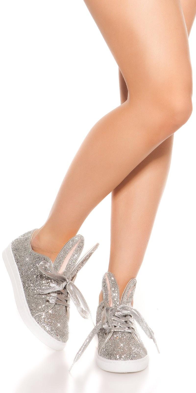 Trendy glitter sneakers zilver