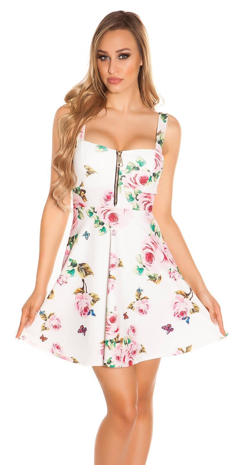 Sexy strap mini jurkje met bloemen-print wit