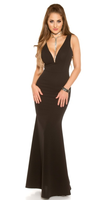 Red-Carpet-Look! Sexy evening gown with V-Neck Black