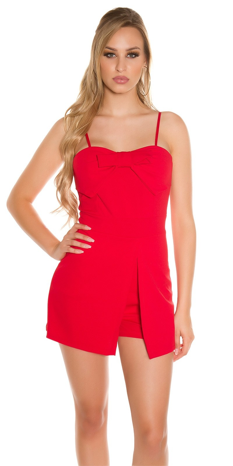 Sexy straps Skorts Playsuit with bow Red