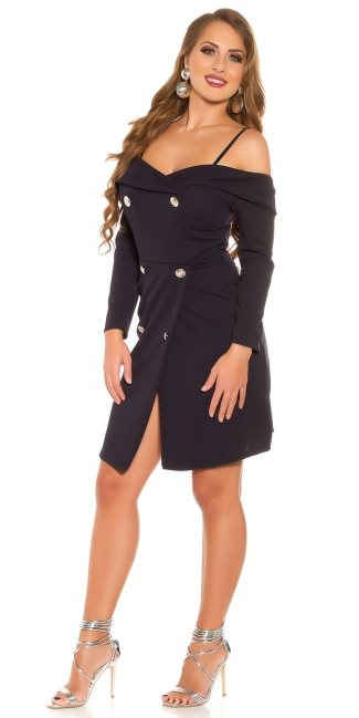 Sexy Longsleeve Minidress off shoulder Navy
