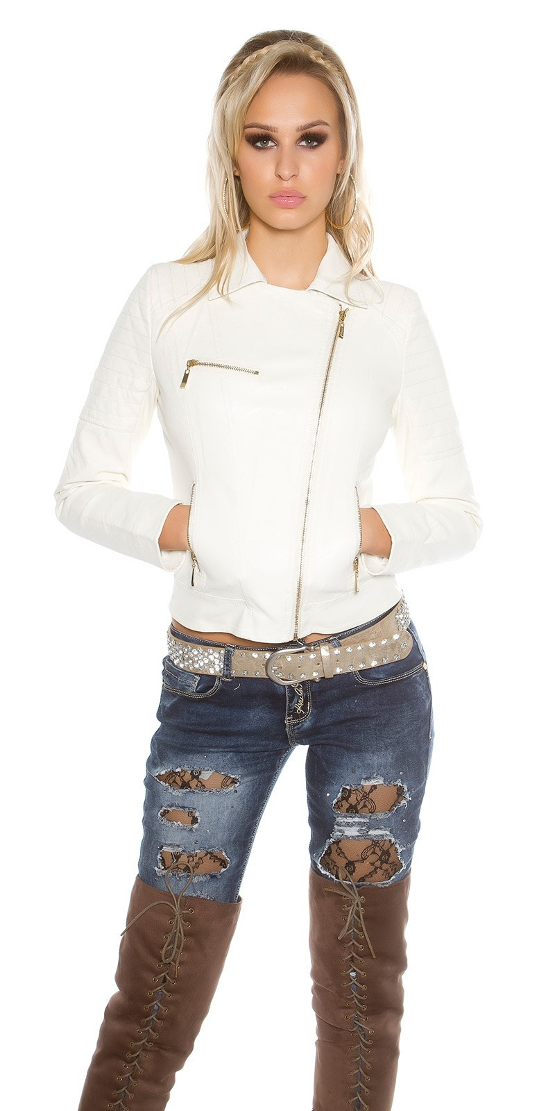 Sexy biker look jas met ritssluitingen wit