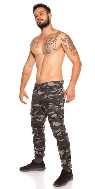 Trendy men cargo pants in camouflage Grey