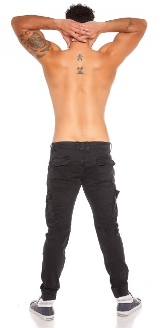Trendy men s cargo pants with pockets Black