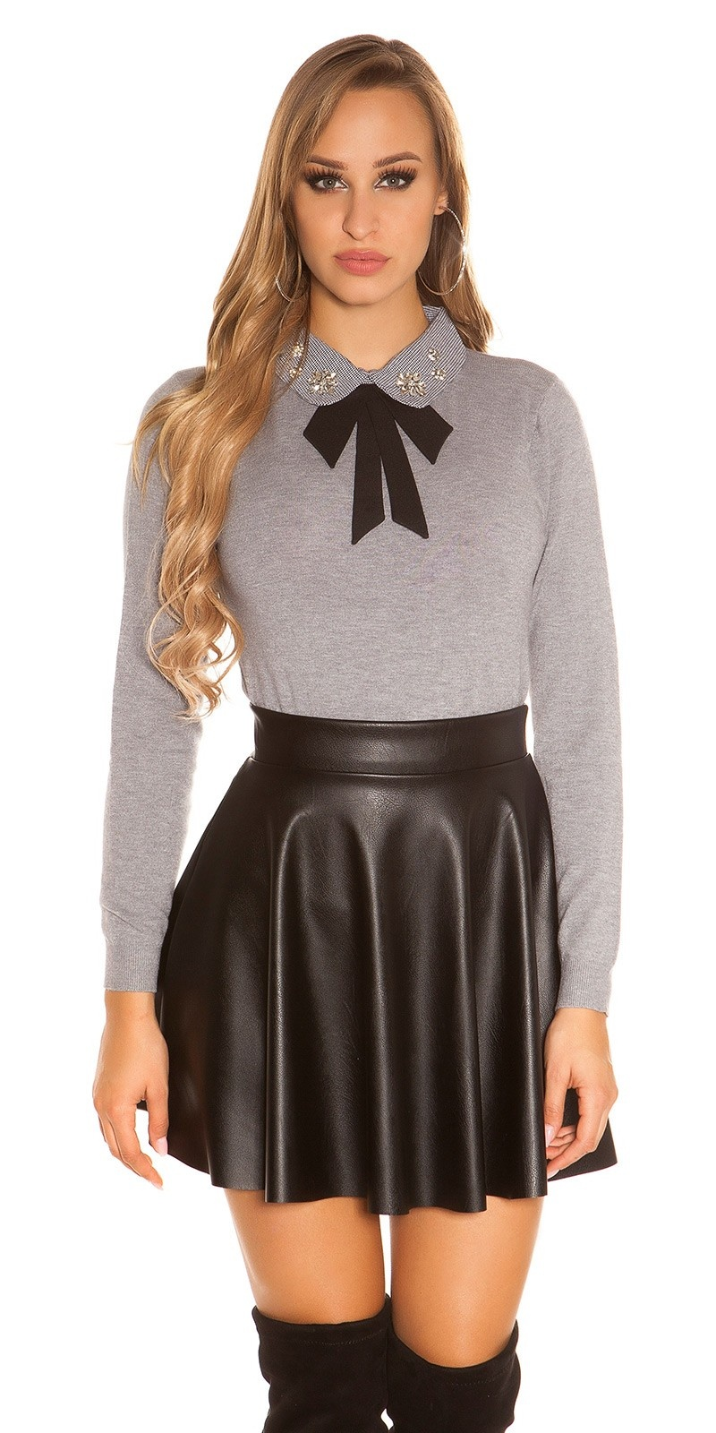 Sexy sweater with collar and bow Grey