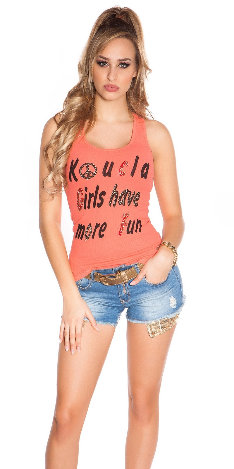 Sexy koucla girls have more fun tanktop met studs koraal-kleurig