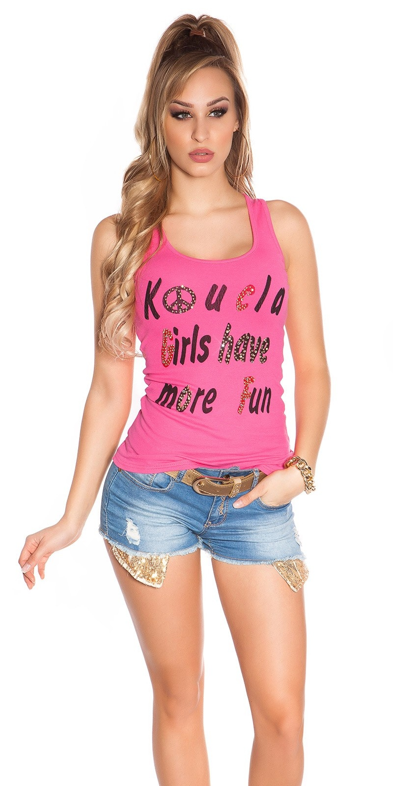 Sexy koucla girls have more fun tanktop met studs fuchsiaroze