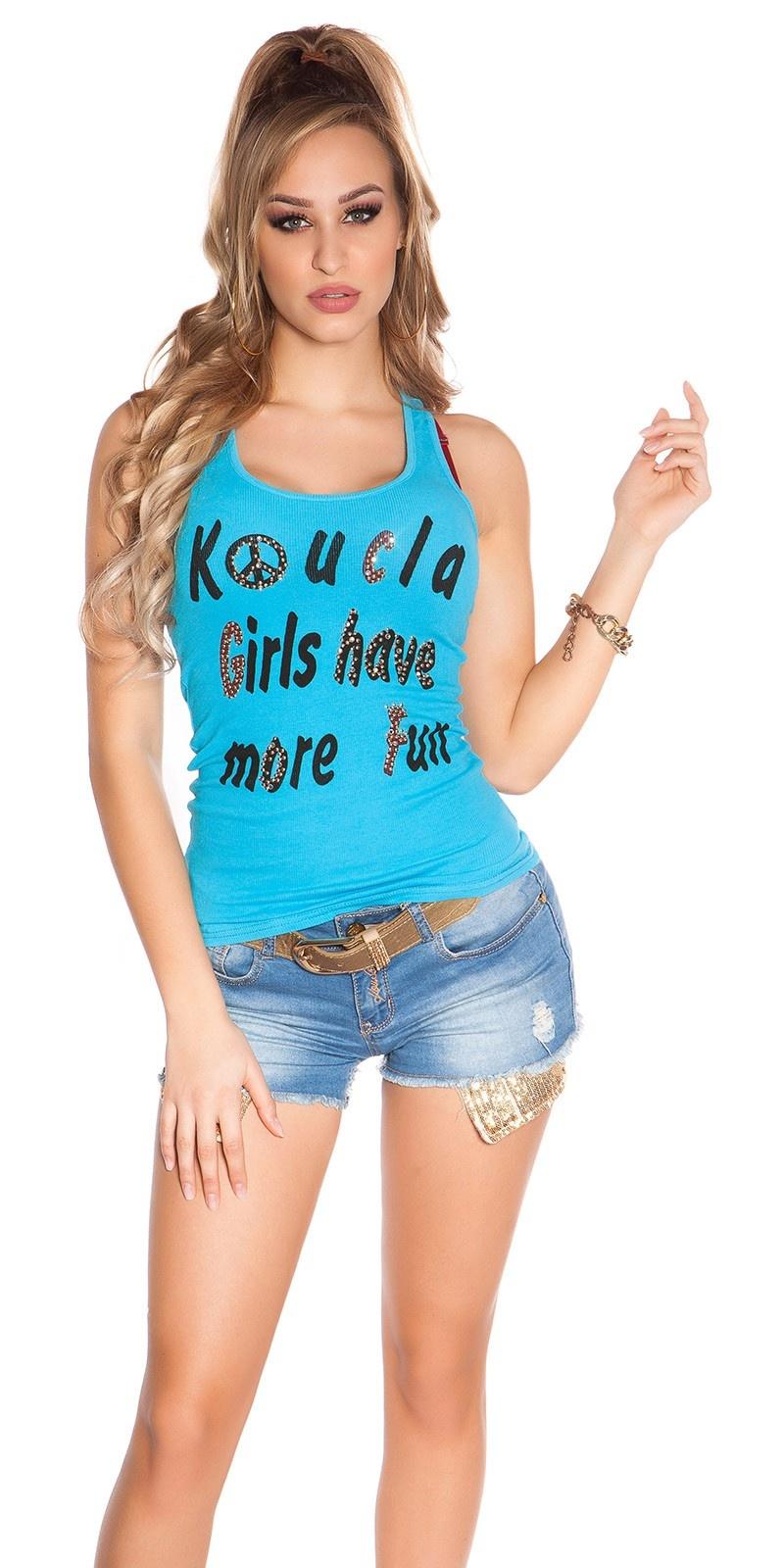 SexyKouCla Girls have more Fun tanktop w. studs Turquoise