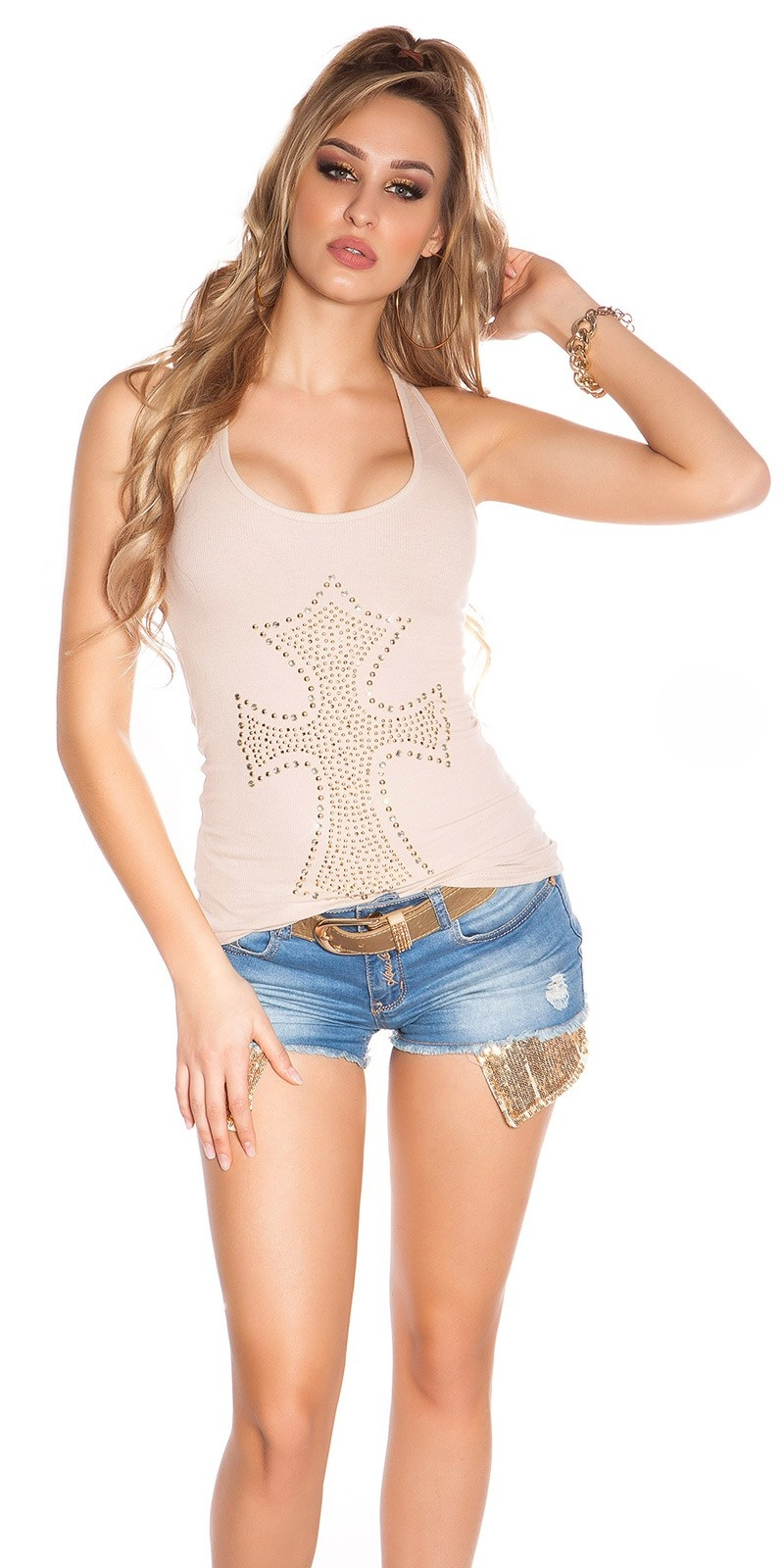 Sexy KouCla fineripp tanktop with cross Beige