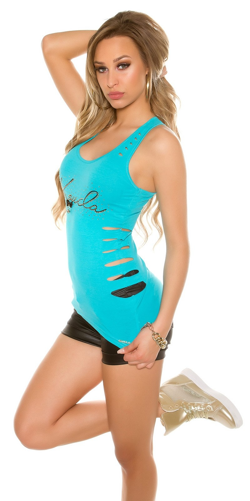 Sexy KouCla tank top with rivets and zip Turquoise