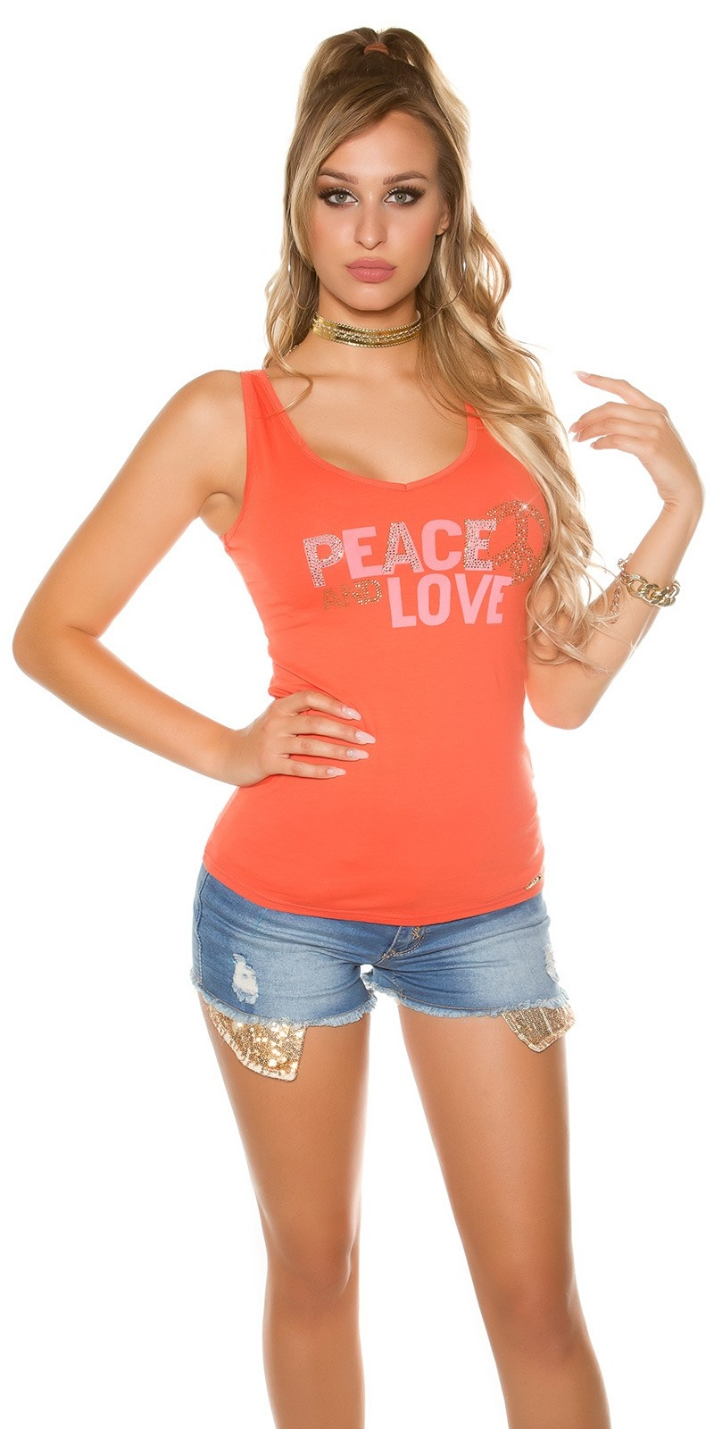 Trendy KouCla Tanktop Peace and Love Coral