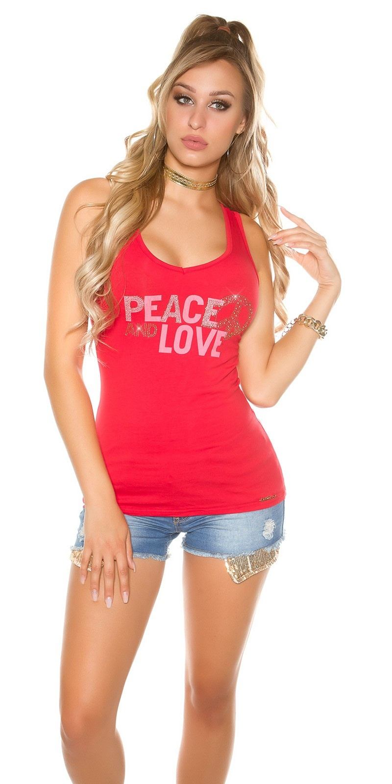 Trendy KouCla Tanktop Peace and Love Red