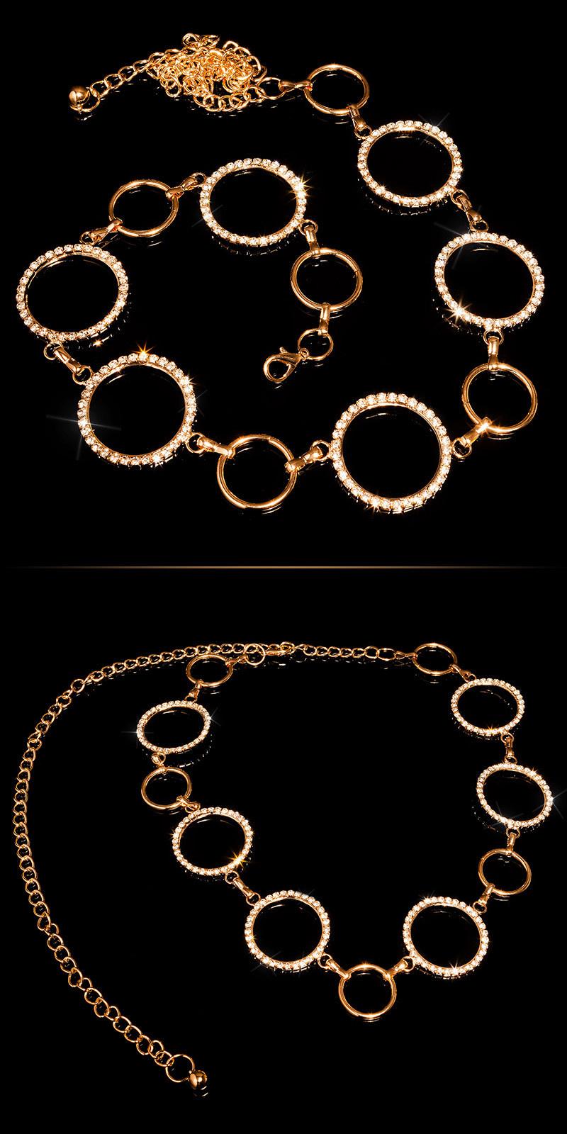 Trendy taille riem met strass steentjes goud