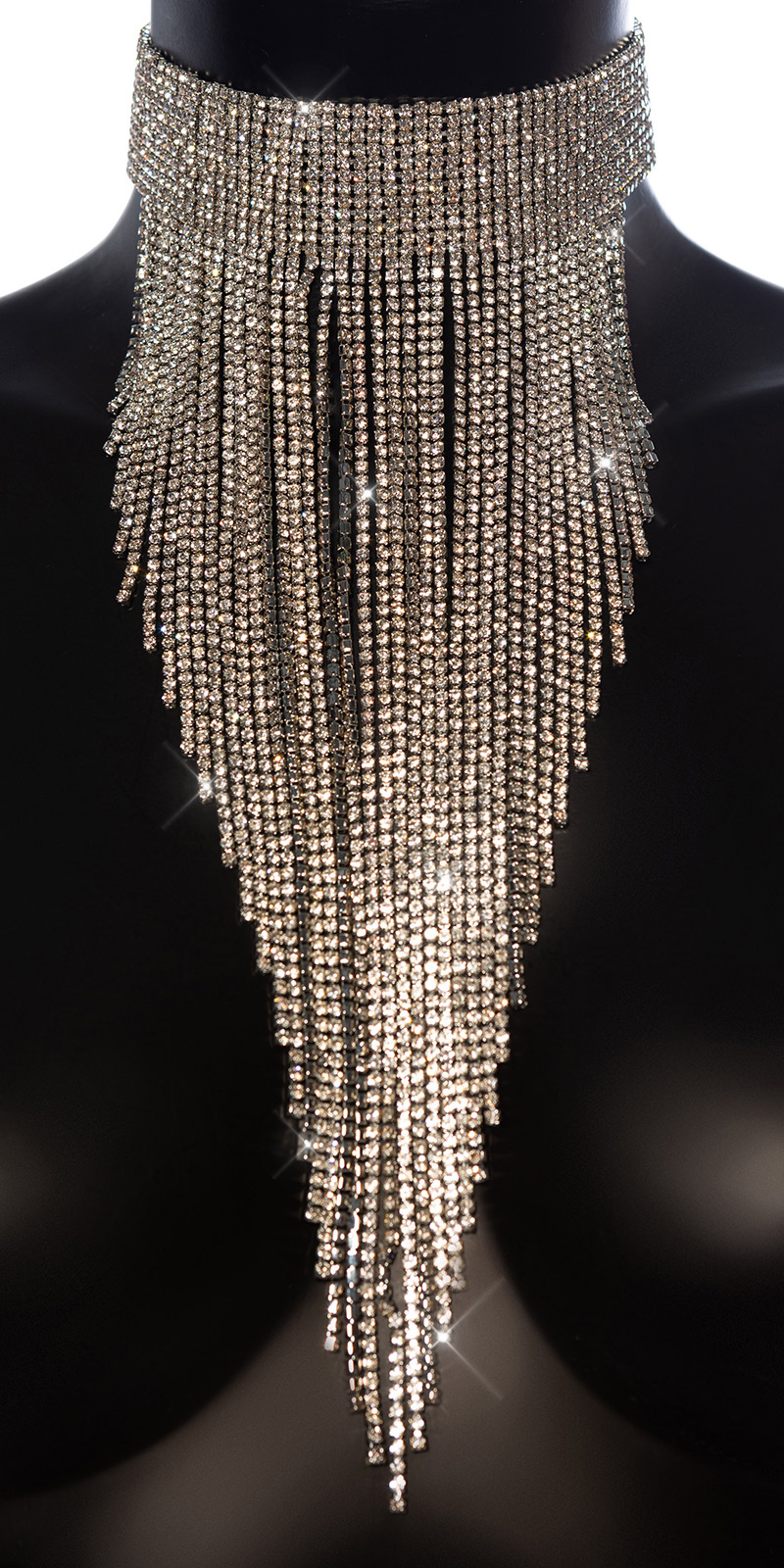 Sexy grote strass steentjes halsketting/choker zilver