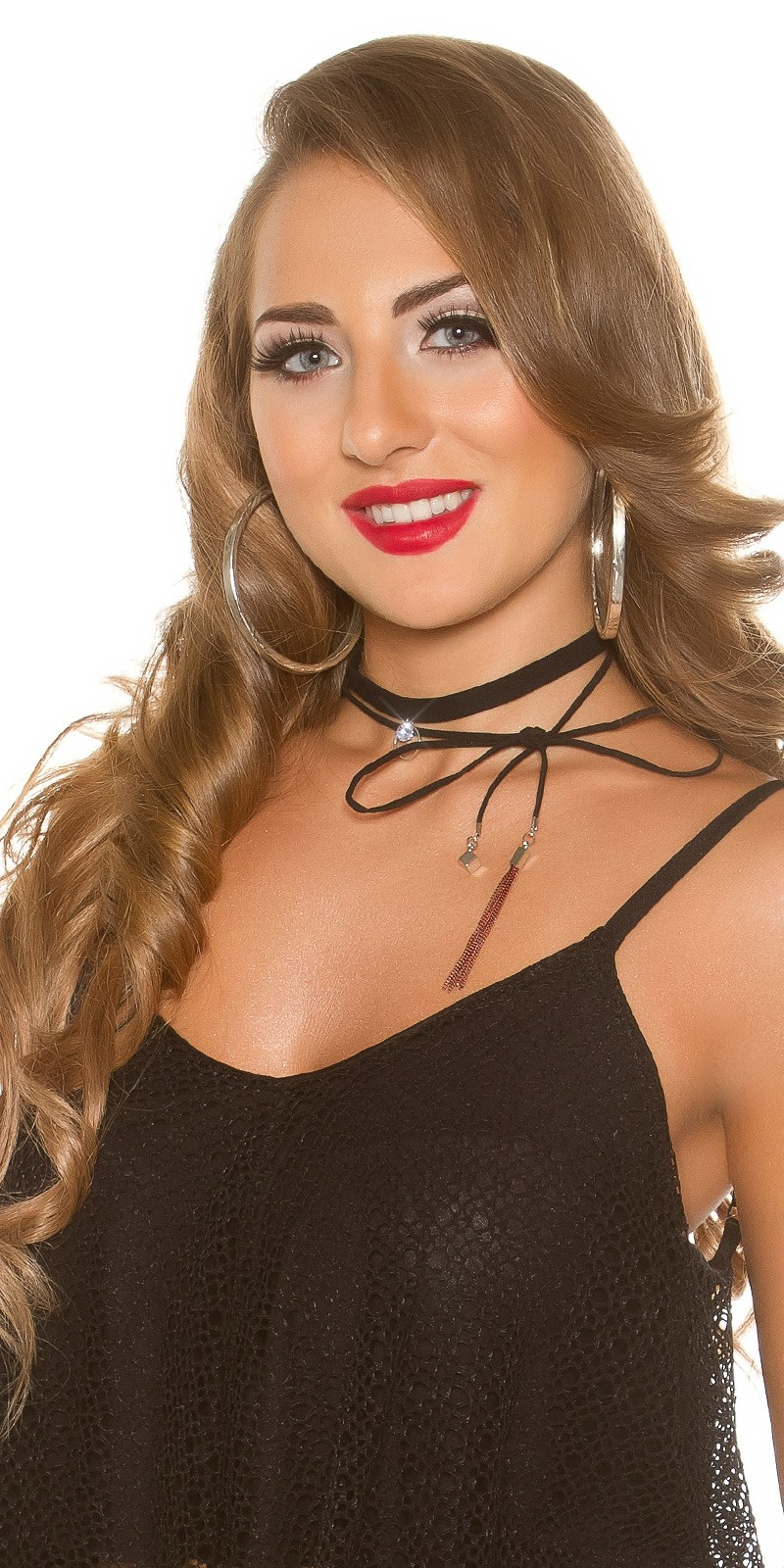 Sexy suede look choker with rhinestone & ribbon Silver