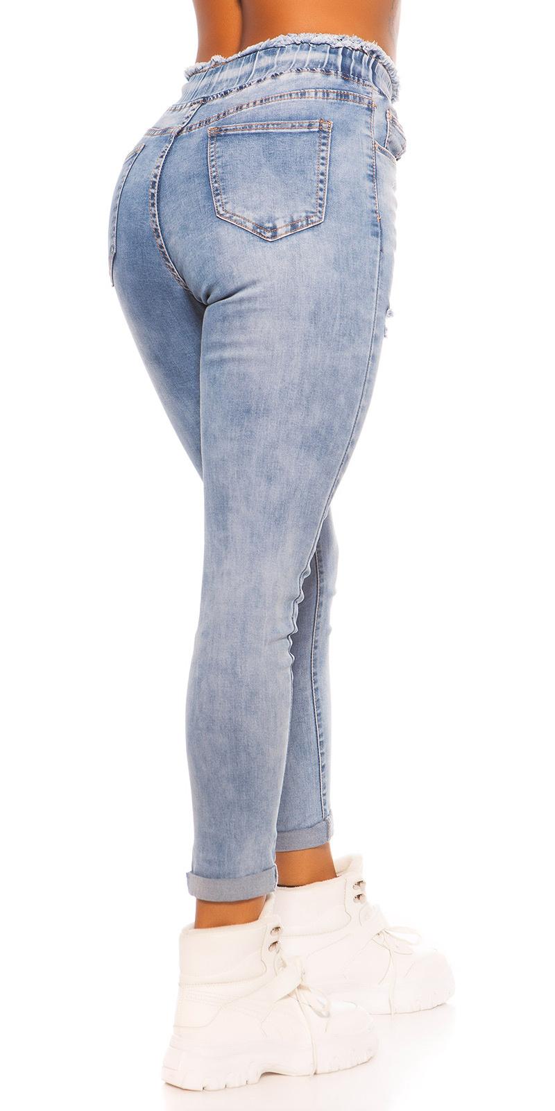 Sexy hoge taille skinny jeans gebruikte used look blauw