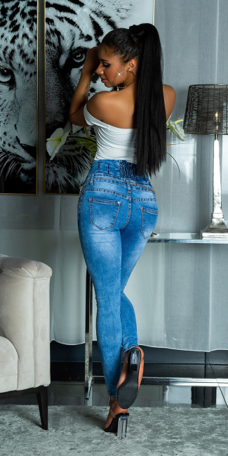 Sexy Skinny High Waist Jeans Used Look Blue