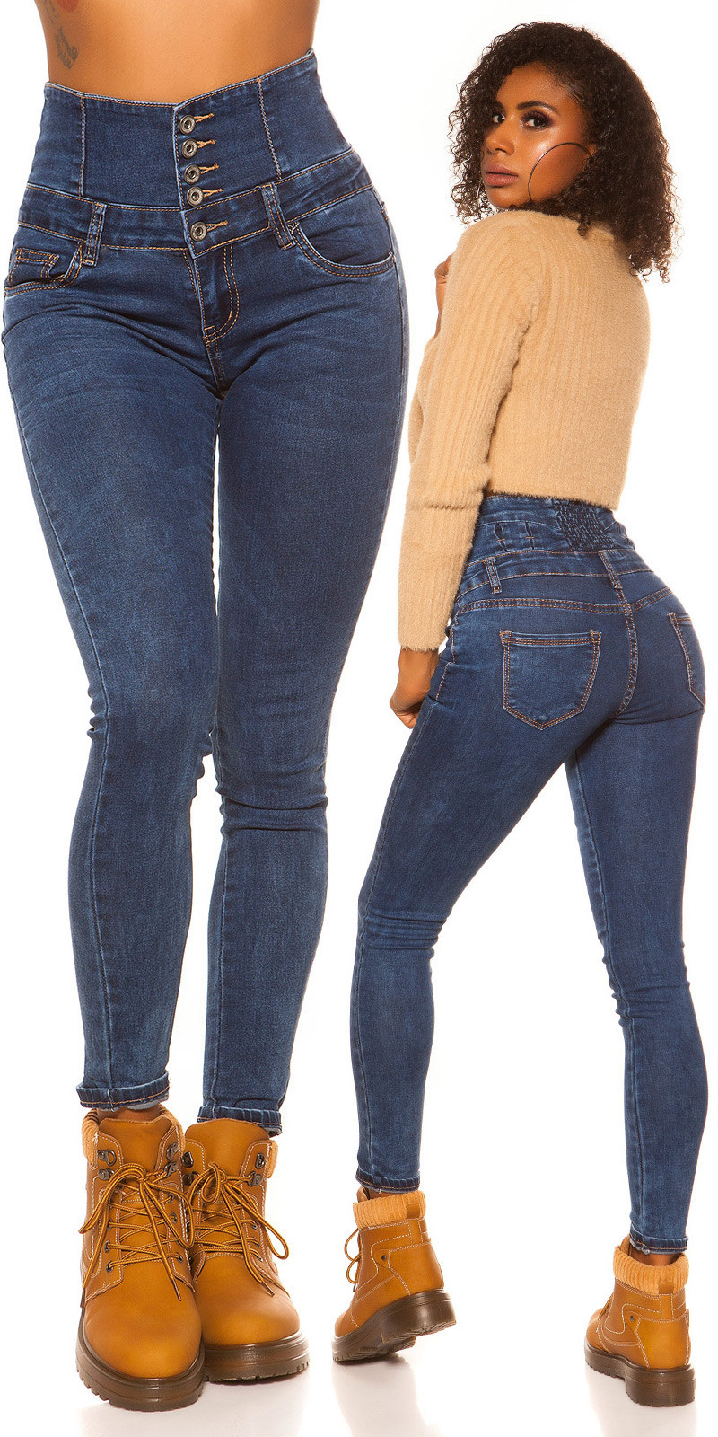 Sexy hoge taille skinny jeans jeansblauw