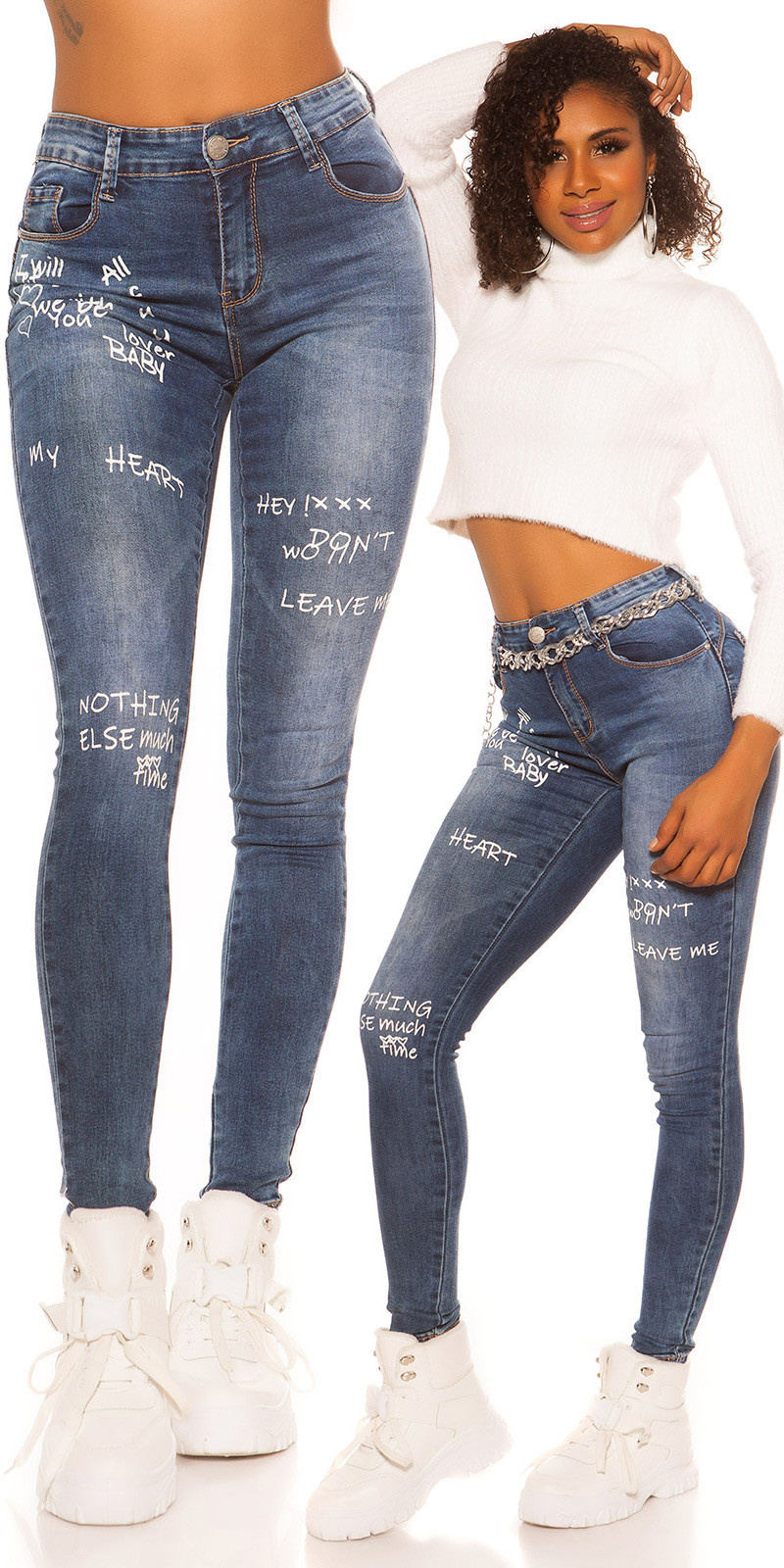 Sexy skinny hoge taille jeans met print jeansblauw