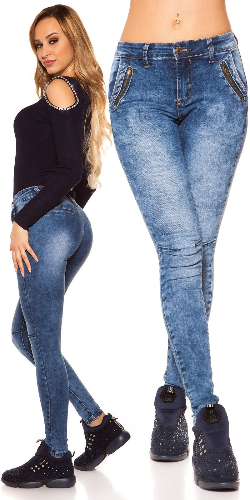 Sexy skinny jeans with decorative zips Jeansblue