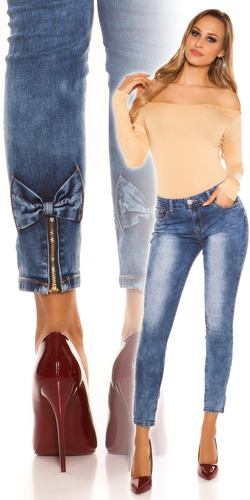 Sexy skinny jeans with bow and zip at the back Jeansblue