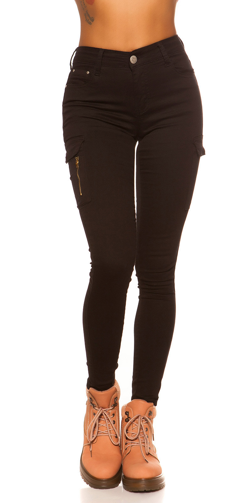 Sexy hoge taille cargo skinny jeans zwart