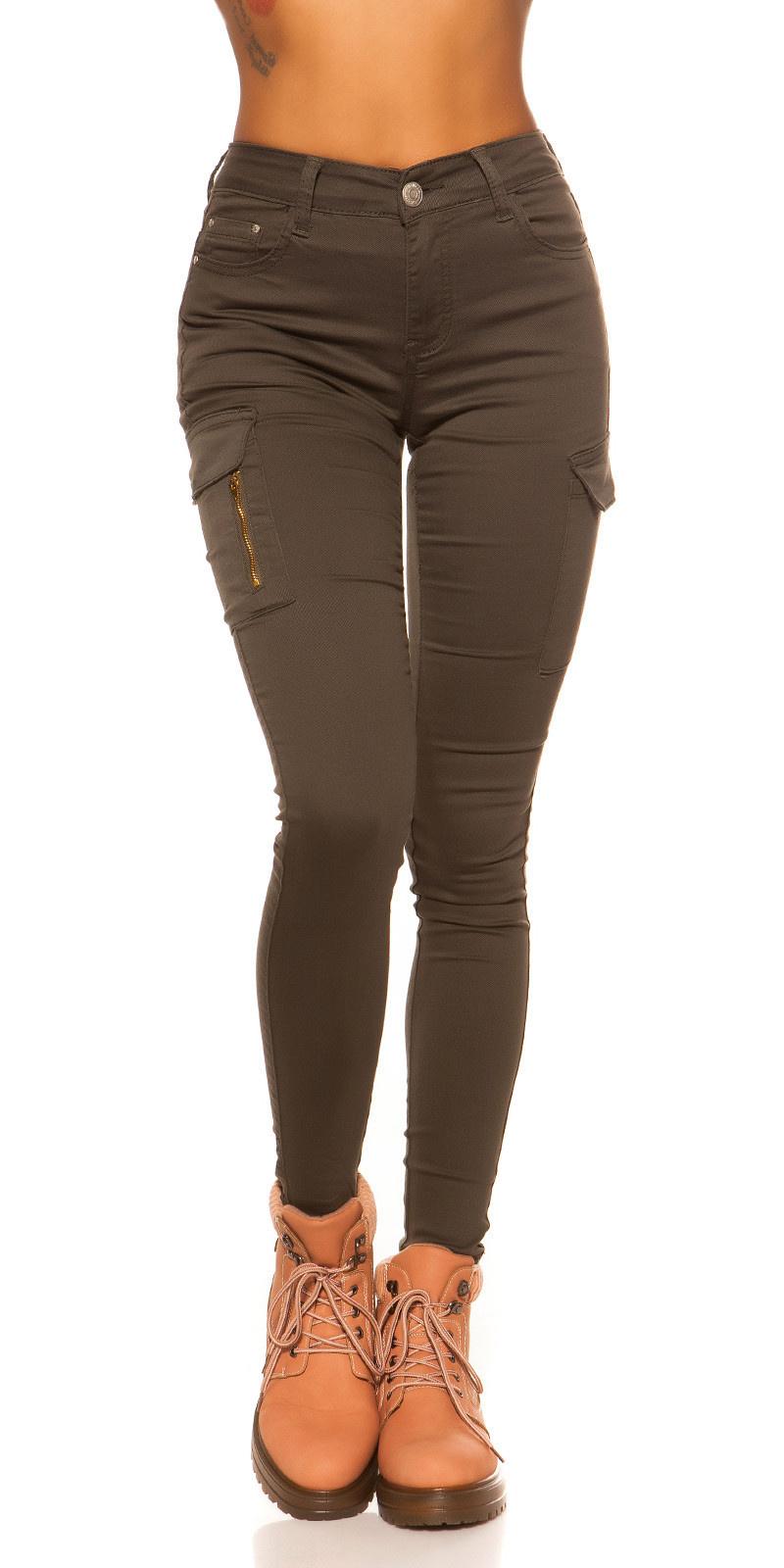 Sexy hoge taille cargo skinny jeans khaki