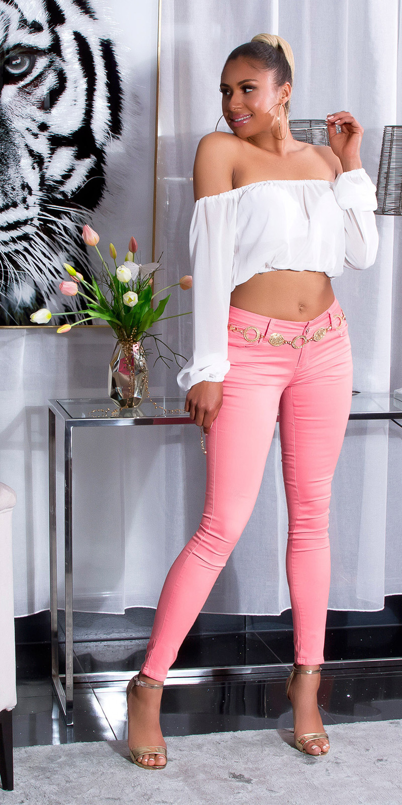Sexy hoge taille zomer skinny jeans koraal-kleurig