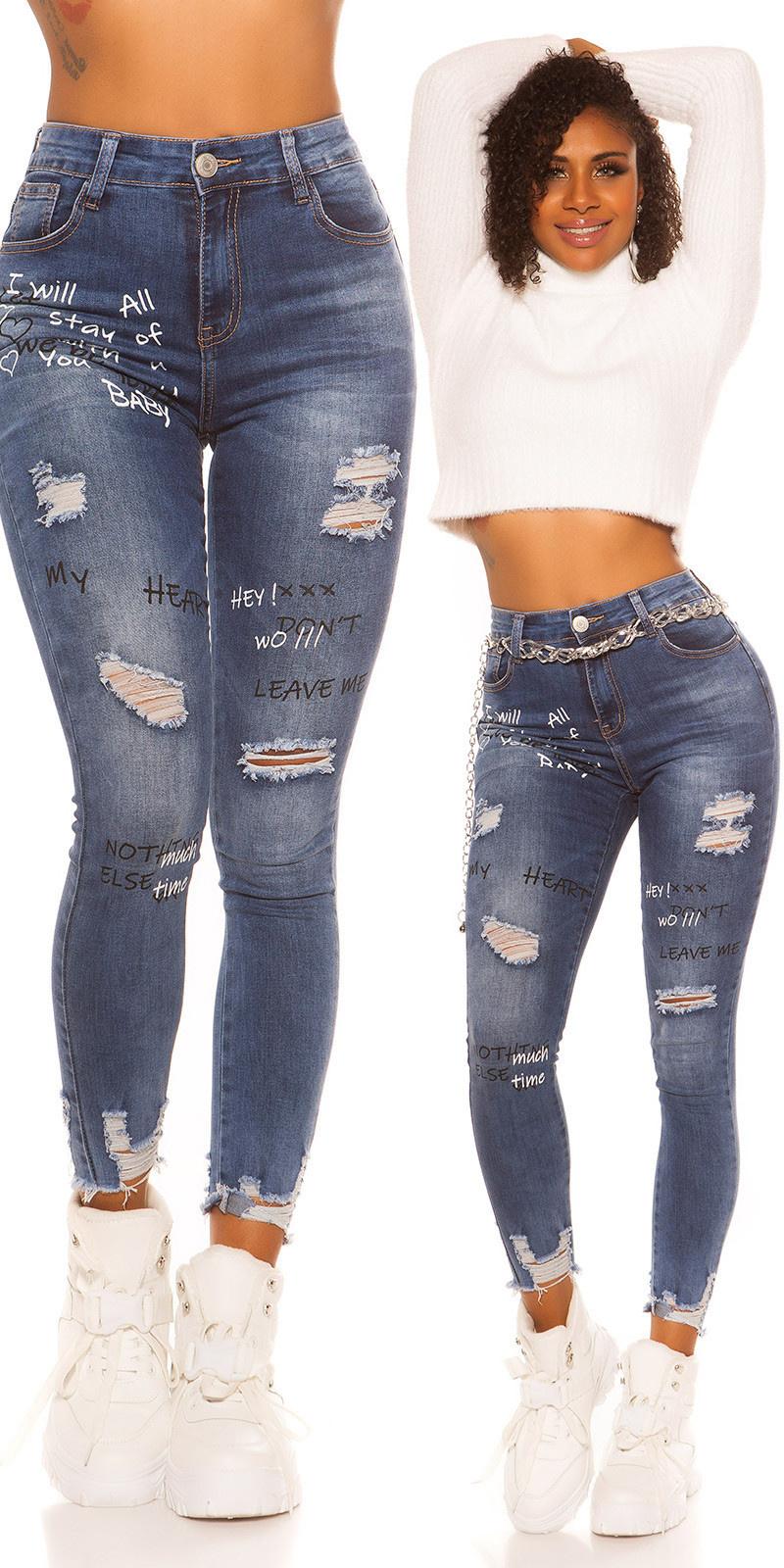 Sexy skinny hoge taille jeans gebruikte used look met print jeansblauw
