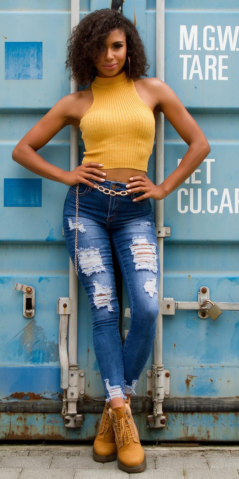 Sexy skinny hoge taille jeans gebruikte look met scheuren jeansblauw
