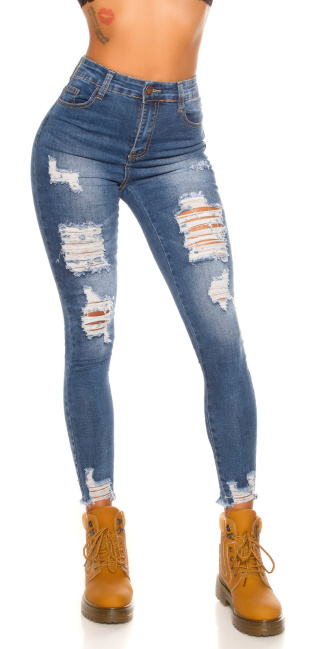 Sexy Skinny Highwaist Jeans Used Look with cracks Jeansblue