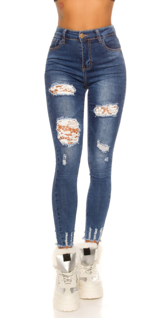 Sexy Skinny Jeans Used Look with lace Jeansblue