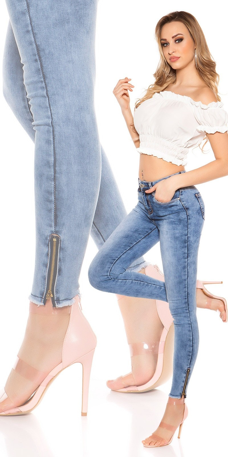 Sexy skinny Jeans with zips Jeansblue