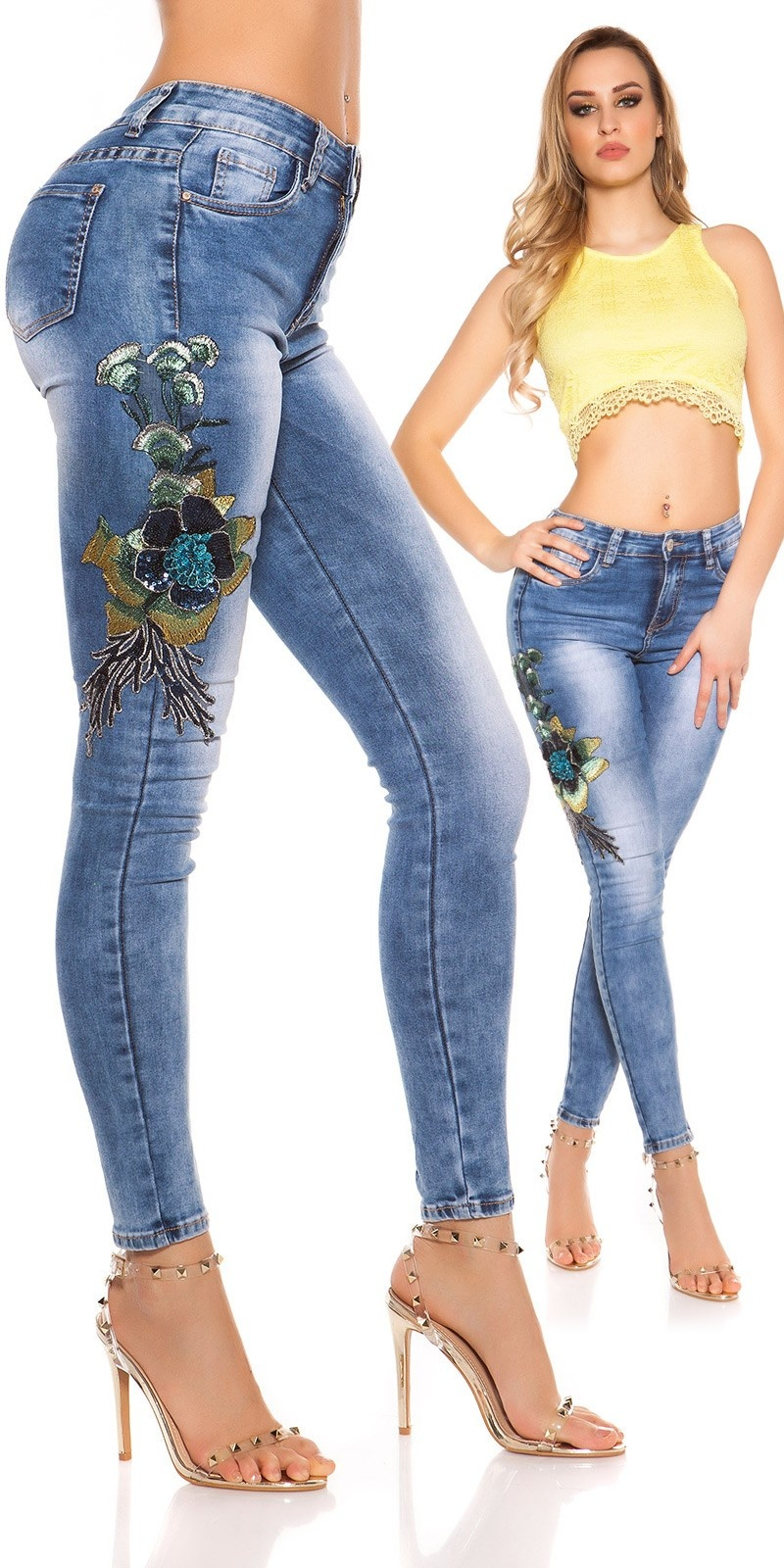Sexy skinny Jeans w. flower embroidery&sequins Jeansblue