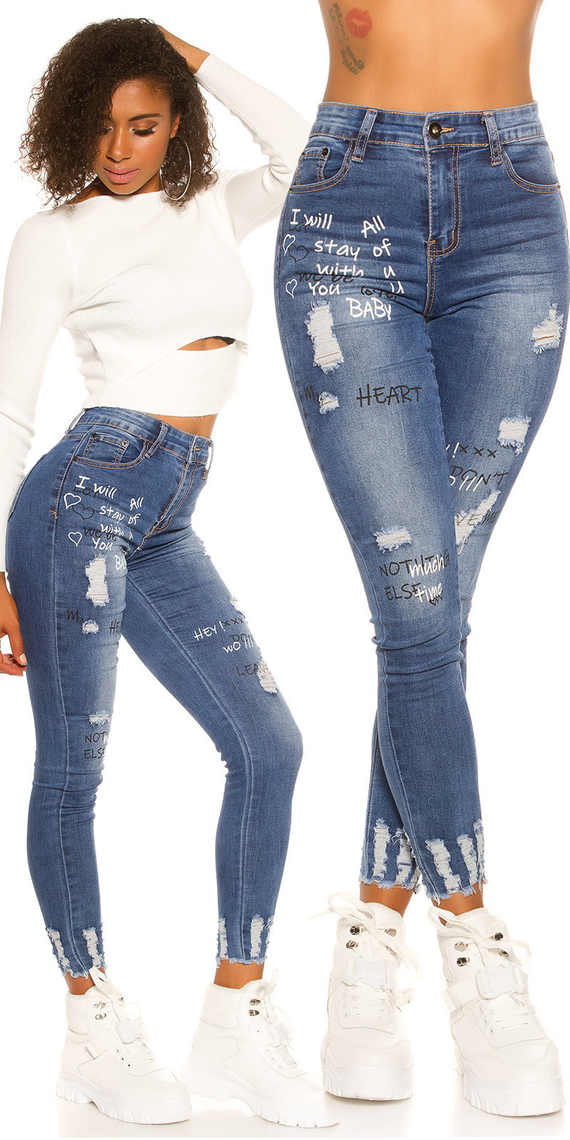 Sexy Skinny Jeans Used Look with print Jeansblue