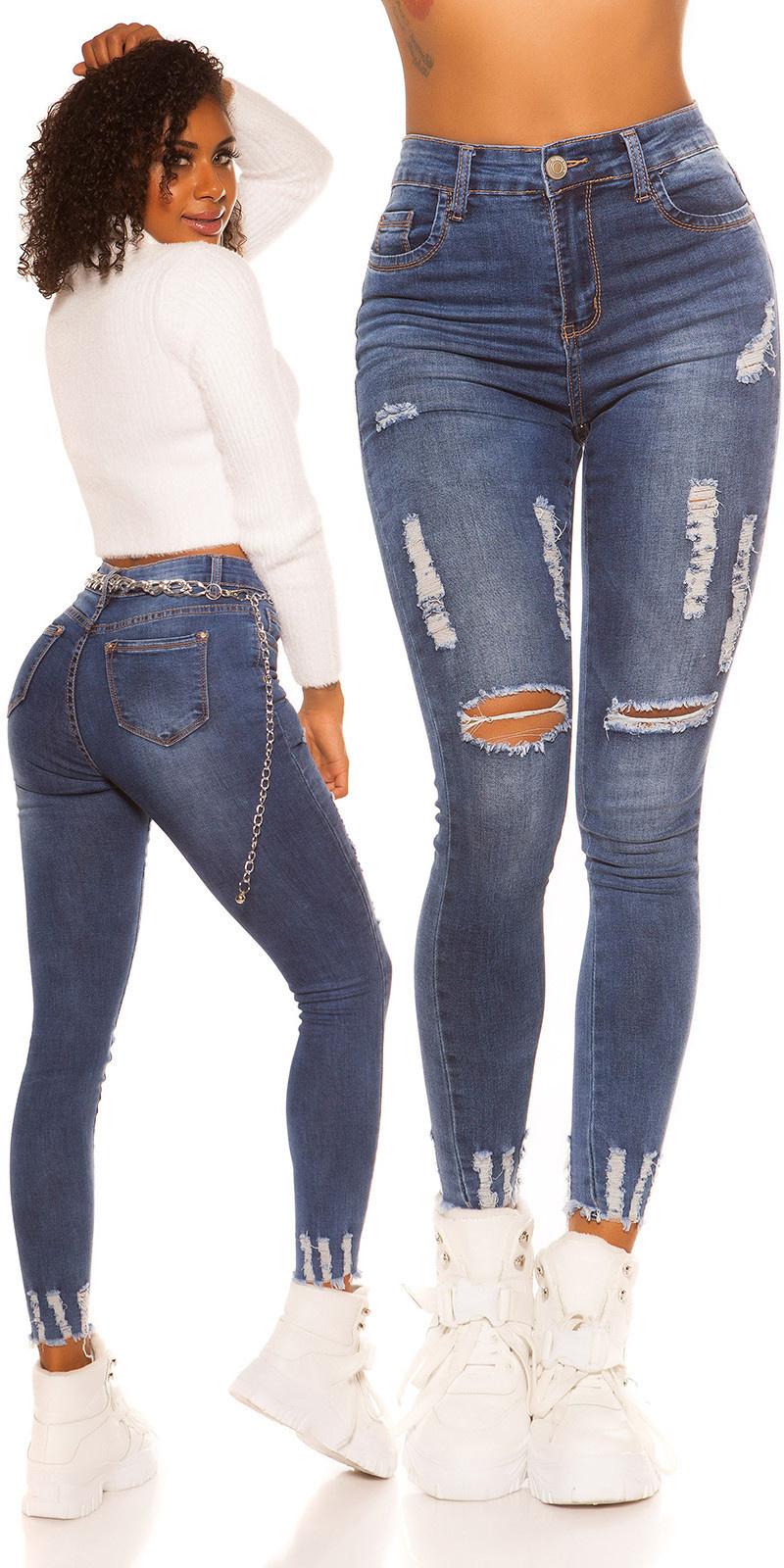 Sexy hoge taille jeans gebruikte used look jeansblauw