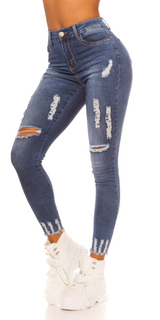 Sexy High Waist Jeans Used Look Jeansblue