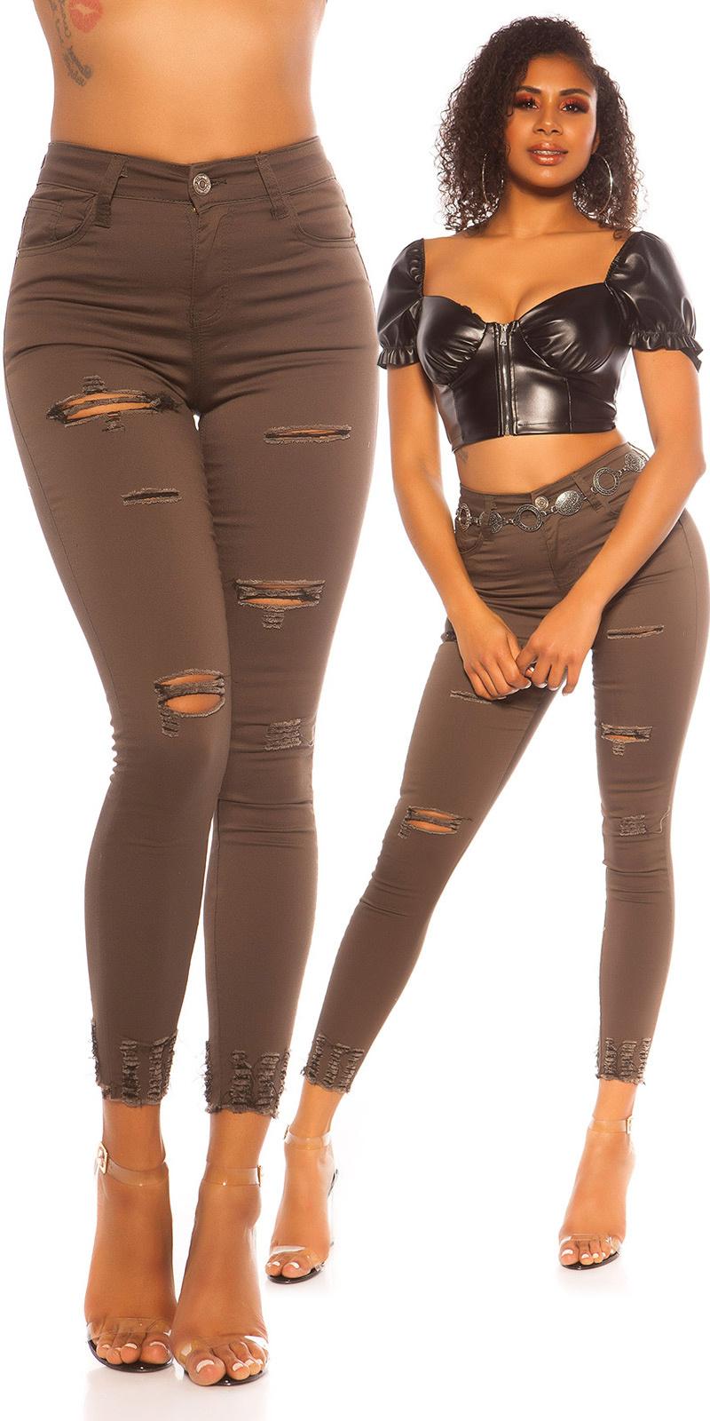 Sexy skinny hoge taille jeans gebruikte used look khaki