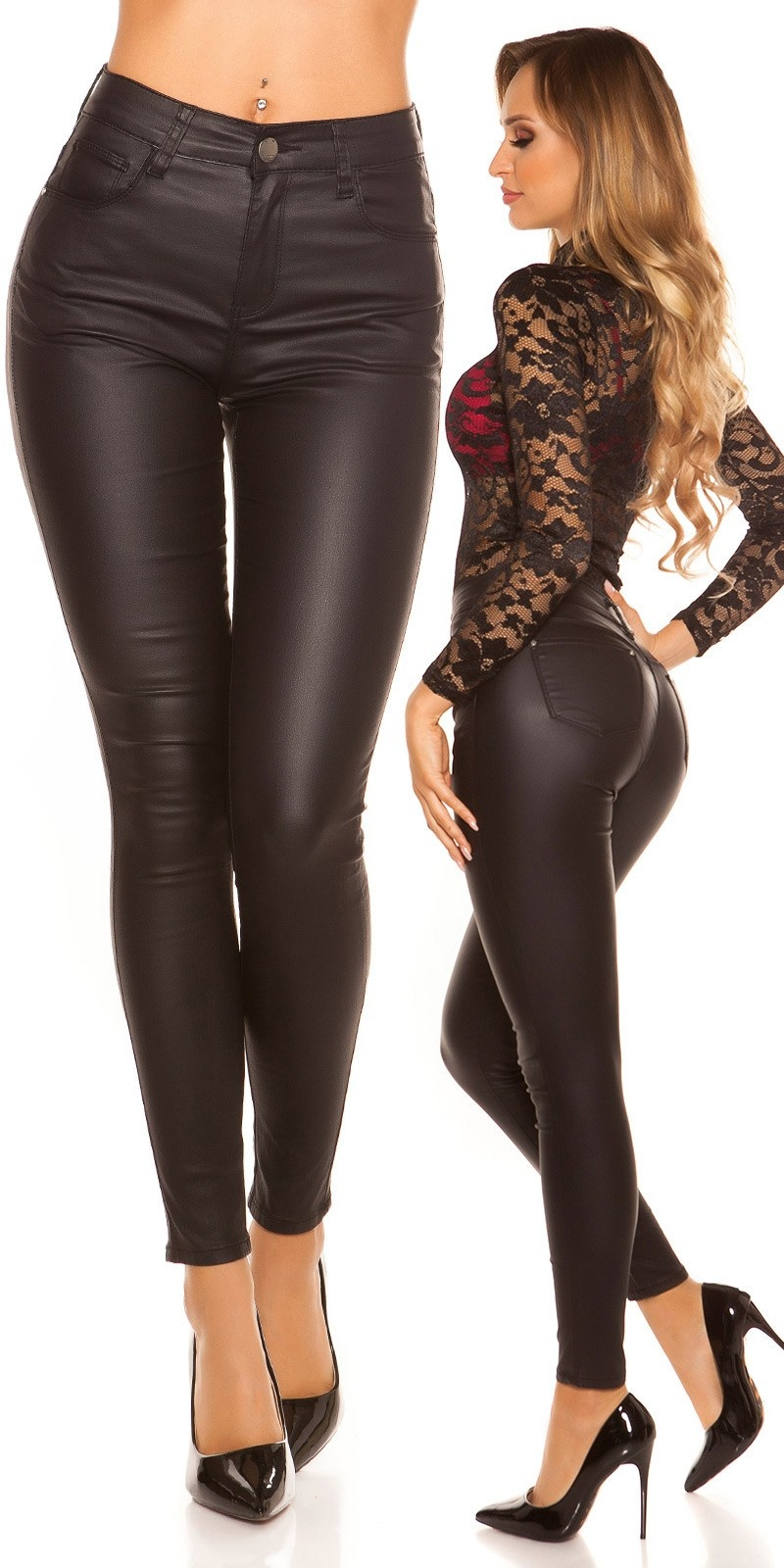 Sexy High Waist Skinny Leatherlook Pants Black