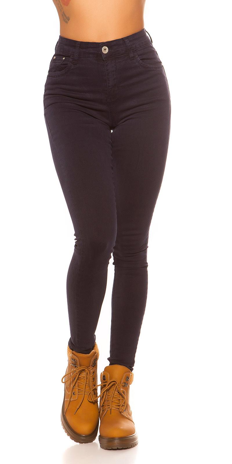 Sexy skinny hoge taille 5 zaks jeans donkerblauw