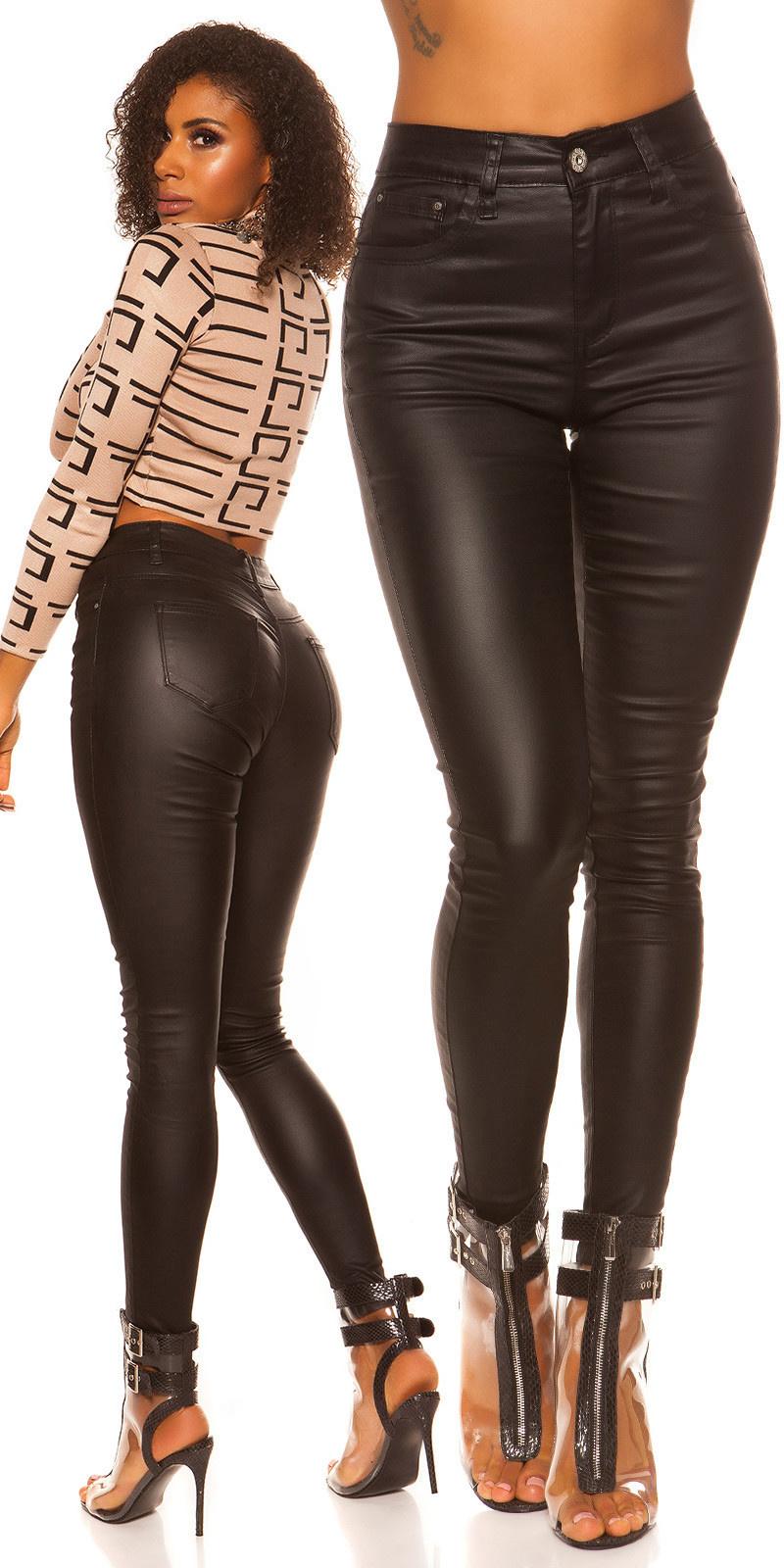 Sexy skinny 5 zak leder look broek zwart