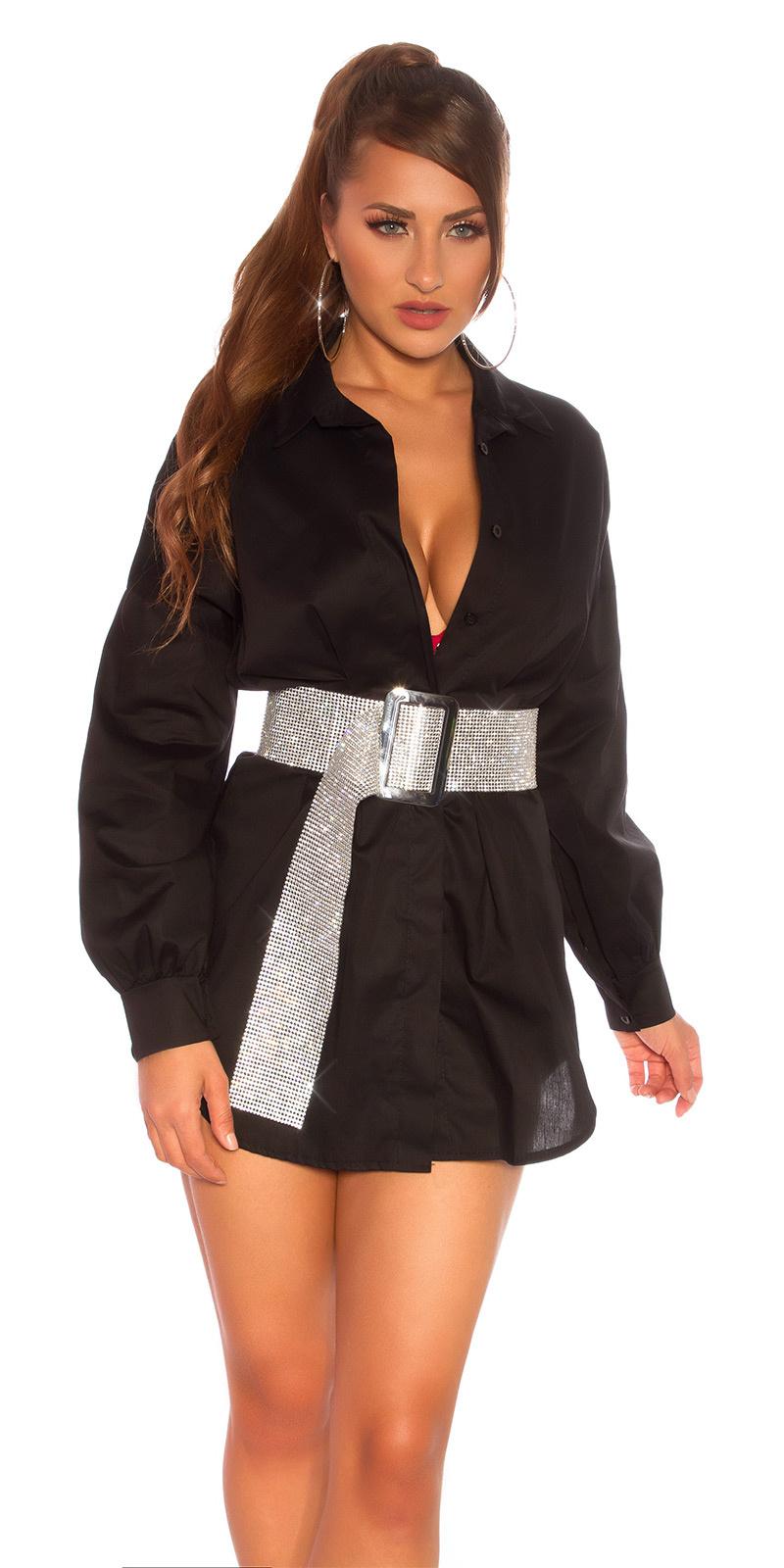 Sexy lange blouse zwart