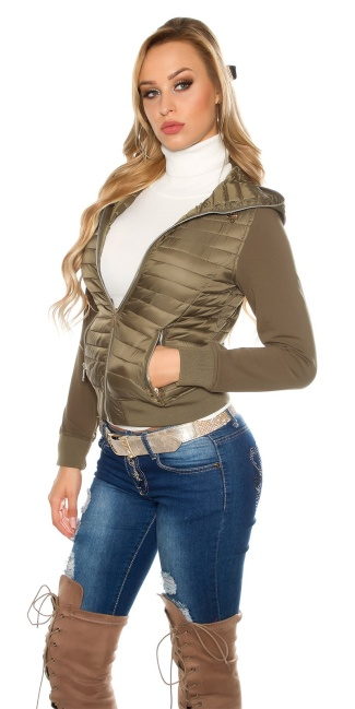 Trendy hooded quilted jacket Khaki