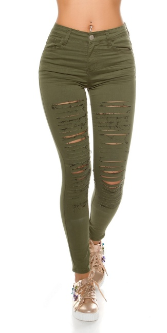 Sexy skinny jeans with cracks Khaki