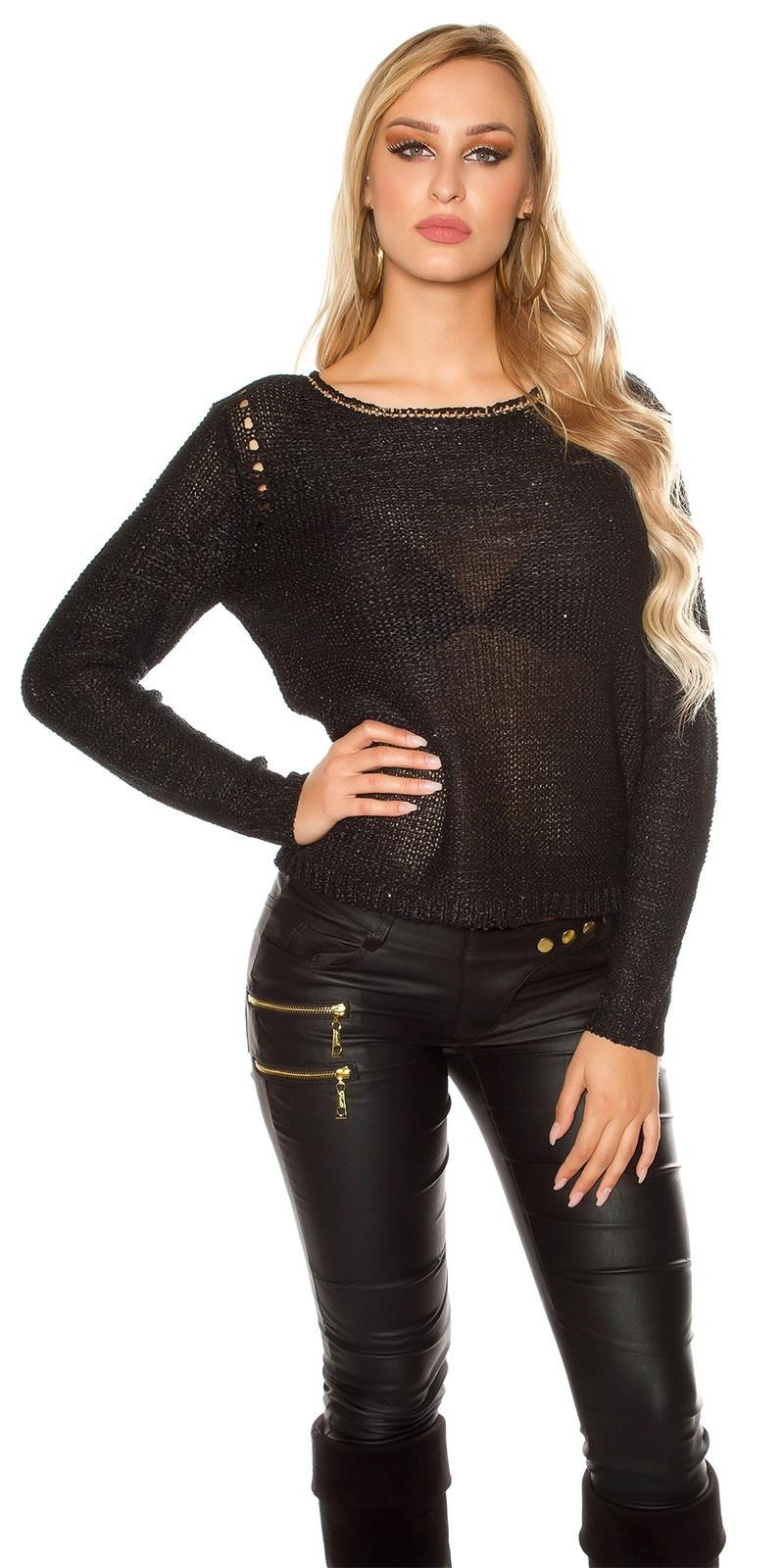 Sexy coarse cord sweater-trui met pailletten zwart