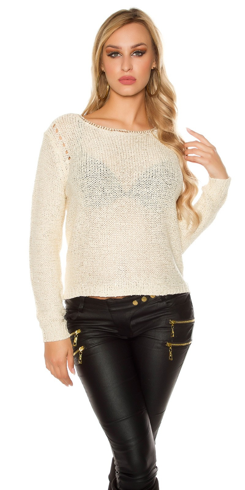 Sexy coarse cord sweater-trui met pailletten cremewit